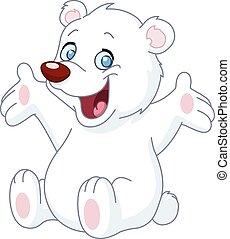 glücklich, weißes, teddybär