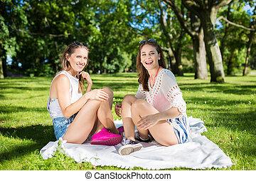 glücklich, weibliche , friends, sitzen, auf, decke, park