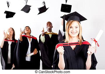 glücklich, weibliche , staffeln, an, studienabschluss