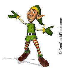 glücklich, weihnachtshelfer, tanzen