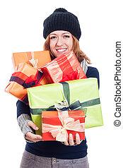 glücklich, winter, frau, mit, viele, geschenke