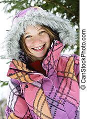 glücklich, winter, m�dchen, in, ski- jacke