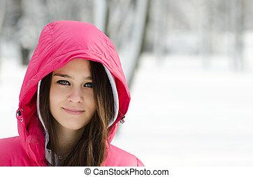 glücklich, winter, m�dchen, porträt
