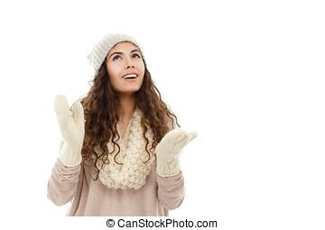 glücklich, winter, m�dchen