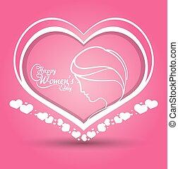 glücklich, womens, tag, herz, m�dchen, rosafarbener hintergrund