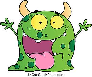 glücklich, zeichen, karikatur, monster