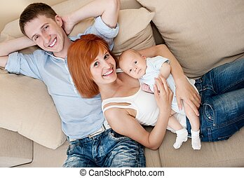 glückliche familie, an, home.