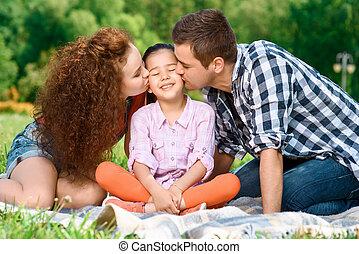 glückliche familie, auf, a, picknick