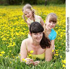 glückliche familie, auf, sommer, outdoor.
