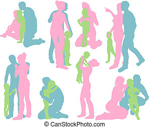 glückliche familie, ausführlich, silhouetten