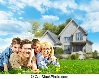 glückliche familie, bei, neu , home.