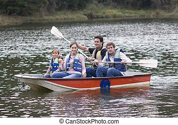 glückliche familie, canoeing