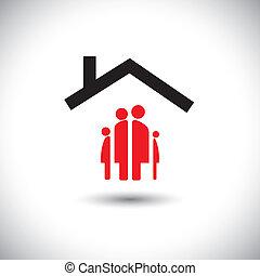 glückliche familie, &, daheim, ikone, begriff, vektor