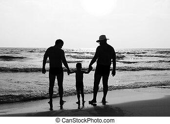 glückliche familie, draußen