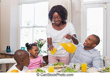 glückliche familie, genießen, a, gesunde, mea