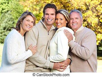 glückliche familie, in, der, park.