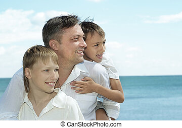 glückliche familie, in, sommer