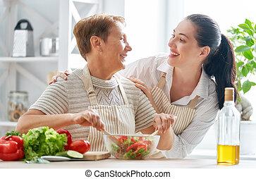 glückliche familie, küche
