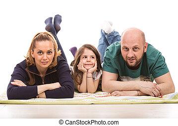 glückliche familie, legen boden