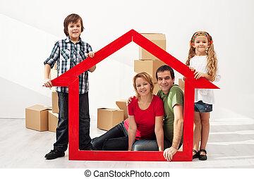 glückliche familie, mit, kinder, bewegen, in, ihr, neues...