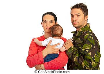 glückliche familie, mit, militaer, vater