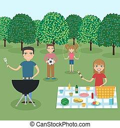 glückliche familie, picknick