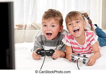 glückliche familie, spielende , a, videospiel