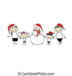 glückliche familie, und, schneemann, weihnachtsurlaub