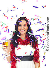 glückliche frau, an, party, mit, konfetti