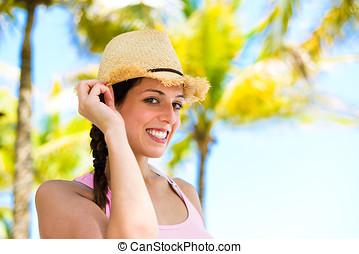 glückliche frau, auf, sommer, karibisch, reise