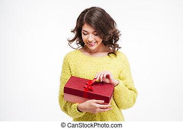 glückliche frau, besitz, geschenk, kasten