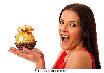 glückliche frau, besitz, groß, schokolade süßigkeit, empfangen, als, a, gift.