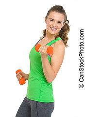 glückliche frau, hanteln, junger, fitness