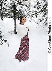 glückliche frau, in, winter, mit, schnee