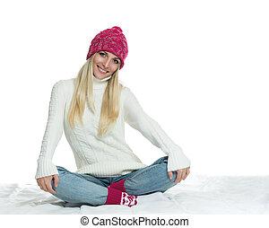 glückliche frau, in, winter, oberbekleidung