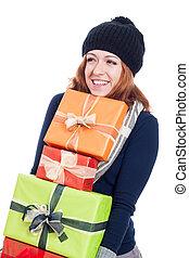 glückliche frau, mit, viele, geschenke