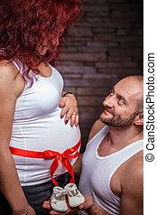 glückliche frau, schwanger