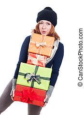 glückliche frau, tragen, viele, geschenke