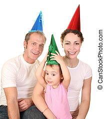 glückliche geburtstag farbe, mã¤nnerhemd, familie, mit, baby