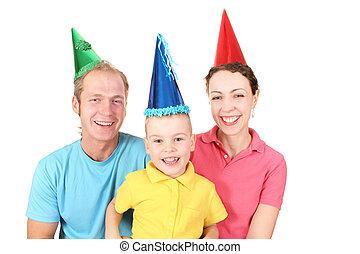 glückliche geburtstag farbe, mã¤nnerhemd, familie, mit, junge, 2