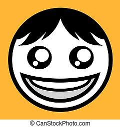 Glückliches Gesicht Textsymbol