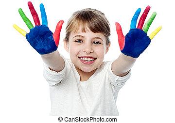 glückliches lächeln, kinder, spielen, mit, farbe