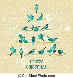 glückwunsch, -, baum, vögel, einladung, vektor, retro, weihnachtskarte