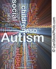 glühen, begriff, autismus, hintergrund