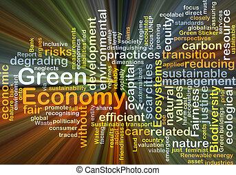 glühen, begriff, grüner hintergrund, wirtschaft