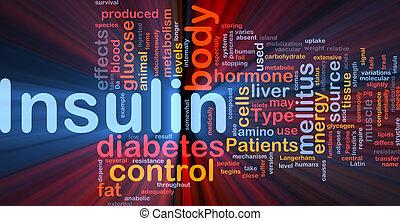glühen, begriff, insulin, hintergrund, zuckerkrankheit