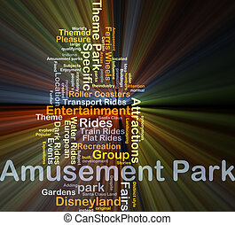 glühen, begriff, park, belustigung, hintergrund