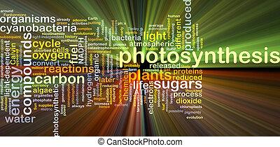 glühen, begriff, photosynthese, hintergrund