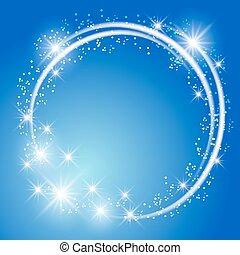 glühen, blauer hintergrund, mit, sternen