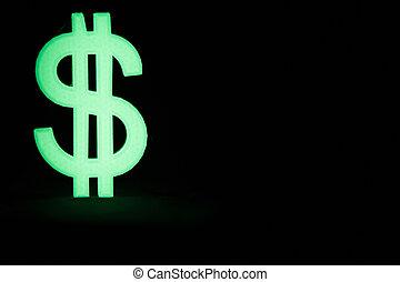 glühen, dollarzeichen, dunkeln
